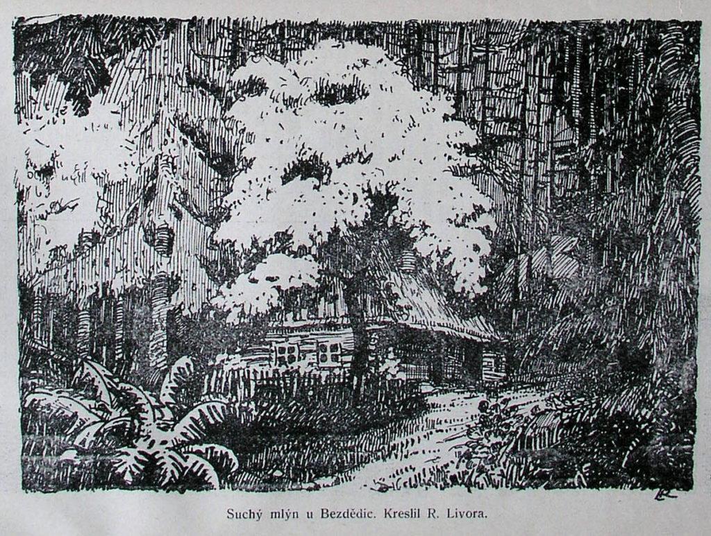 obrázek Suchého mlýna, který je obsažen v Boleslavanu, ročník II na straně 76 v článku Karla Sellnera – Strenický potok. (1927-1928)